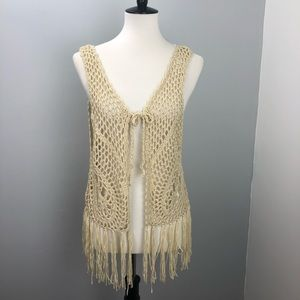 New David And Young Knit Crochet Vest with Fringe